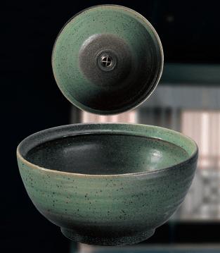 緑斑点手洗鉢