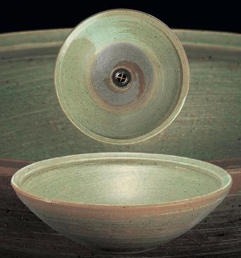 緑釉うずしお手洗鉢