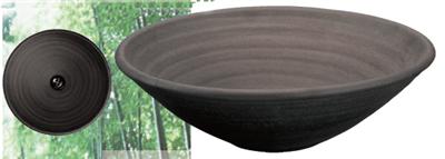 炭化黒焼締24cm手洗鉢(金具付)