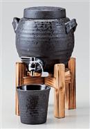 黒陶釉吹マルチサーバー(1.8㍑)(木台付)
