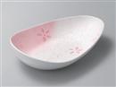 ラスター花散らし変形サラダボール ピンク