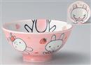 ピンクウサギ子供茶碗