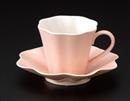 ピンク花弁コーヒーC/S(碗と受け皿セット)