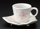 ピンク花コーヒー碗皿(碗と受け皿セット)