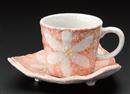 花コーヒー碗皿ピンク(碗と受け皿セット)