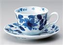染花絵コーヒー碗皿(碗と受け皿セット)