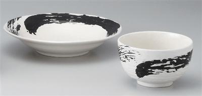 白地黒刷毛流8.0寸つけ麺皿
