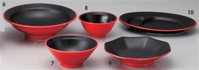 紅漆黒7.0丸高台皿