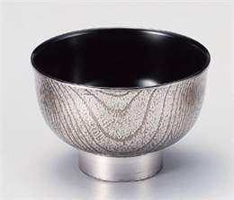 [A]羽反木目汁椀銀彫