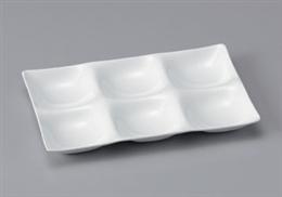 [A]シックスホールプレート陶磁器調白