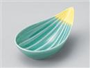 緑彩黄色塗分け笹型小鉢