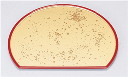 [A]富士半月盆 色紙金箔渕朱尺2寸