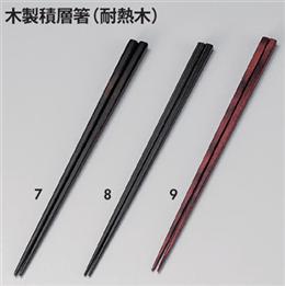 [木]23.5cm細6mm角箸 朱面