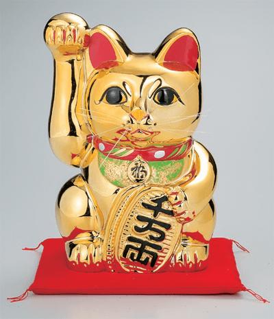 黄金手長小判猫13号(右手)座布団付