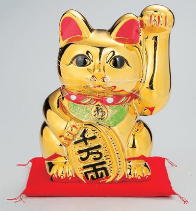 黄金手長小判猫13号(左手)座布団付