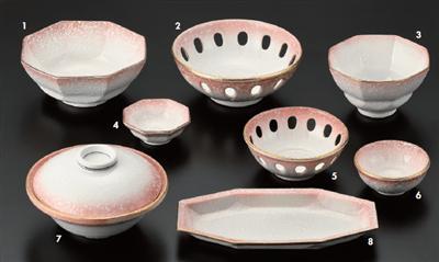 ピンク吹 八角刺身鉢