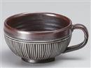 鉄砂彫込片手スープカップ