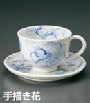 手描き花コーヒー碗皿(セット)
