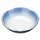 [陶]花型丸鉢 渕ブルー